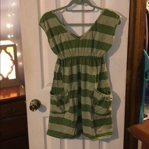 Mossimo green striped dress with huge pockets!